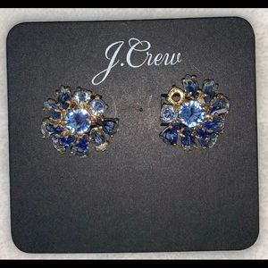 J CREW GOLD TONE & BLUE CRYSTAL CLUSTER EARRINGS